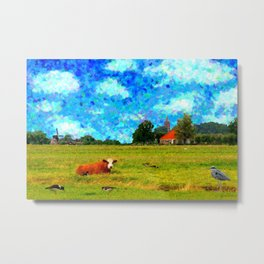 Landscape with cow and birds Metal Print