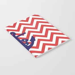 Blue Anchor on Red and White Chevron Pattern Notebook