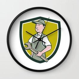 Repairman Holding Spanner Crest Cartoon Wall Clock