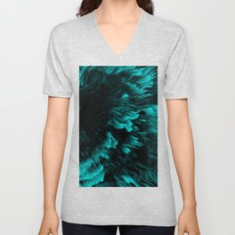 Trippy Cyan Abstract Liquid Pattern Unisex V-Neck