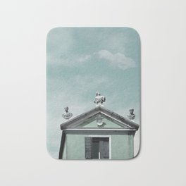 Mint Building on Aqua with Clouds and Sculptures Bath Mat