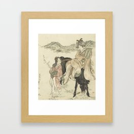 Drive to the temple, Kubota Shunman, 1813 Framed Art Print