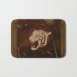 Wonderful  tiger head, golden colors Bath Mat