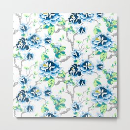 Chinoiserie Ming style Blue Floral on White Pattern Spring Flowers Shabby Chic Metal Print