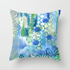 In amongst the blues and greens Throw Pillow