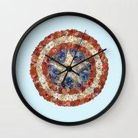 steve rogers Wall Clocks featuring Steve Rogers' Garden by Joan-of-here