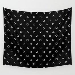 Gamer Pattern (White on Black) Wall Tapestry