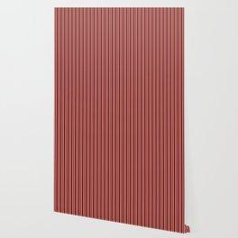 Vintage New England Shaker Village Milk Paint Barn Red Small Vertical Bedding Stripe Wallpaper