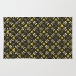 Starburst and Lines Mid Century Earth Colors Rug