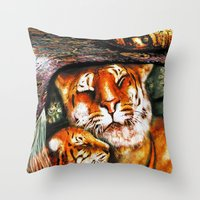 persian Throw Pillows featuring PERSIAN TIGER by ShekariArt