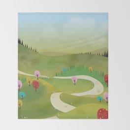 Cartoon hilly landscape Throw Blanket