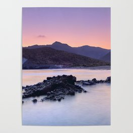 Half Moon Beach. Purple Sunset At The Mountains Poster