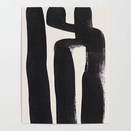 Mid Century Modern Minimalist Abstract Art Brush Strokes Black & White Ink Art Ancient Stripes Poster
