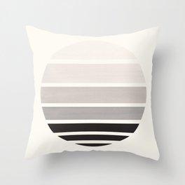 Grey Mid Century Modern Minimalist Circle Round Photo Staggered Sunset Geometric Stripe Design Throw Pillow