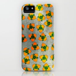 Simple Flower Repeat Orange and Green iPhone Case