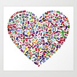 Heart flags countries Art Print