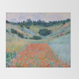 Poppy Field in a Hollow near Giverny Claude Monet Throw Blanket