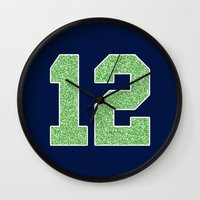 seahawks Wall Clocks featuring 12th Man by rhaverlock