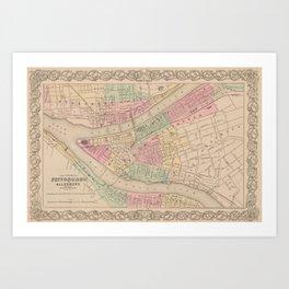 Vintage Map of Pittsburgh PA (1855) Art Print