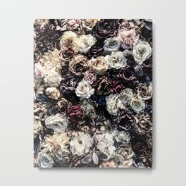 Flower Wall // Desaturated Vintage Floral Accent Background Jaw Dropping Decoration Metal Print