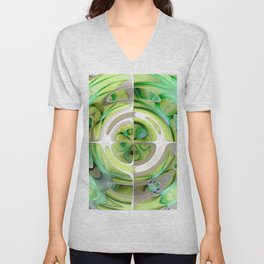 Lime and Green Abstract Collage Unisex V-Neck