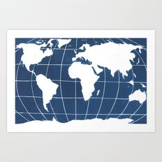 Navy Map of the World Art Print