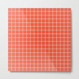 Orange soda - red color -  White Lines Grid Pattern Metal Print