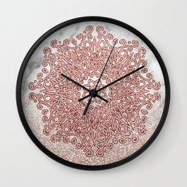 Rose gold mandala marble glitter ombre Wall Clock