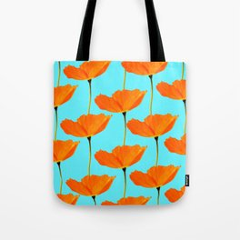 Poppies On A Turquoise Background #decor #society6 #buyart Tote Bag