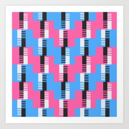 Pasodoble in Pink and Blue Art Print