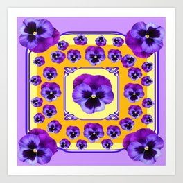 SPRING  PURPLE PANSY FLOWERS YELLOW GARDEN ART Art Print