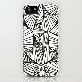 Black And White 3D Line Illusion Drawing Geometric Pattern iPhone Case