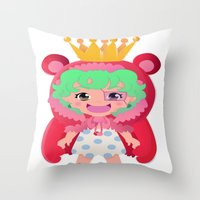 one piece Throw Pillows featuring Sugar from one piece by Dama Chan