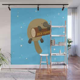 """""""Duck puppy"""" platypus with a log (blue) Wall Mural"""
