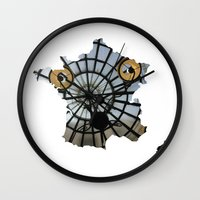 france Wall Clocks featuring France by Isabel Moreno-Garcia