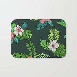 Hawaiian Vintage Tropical Flowers Bath Mat