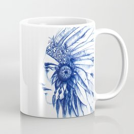 indian face blue ink Coffee Mug