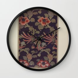 Verneuil - Japanese paper and fabric designs (1913) - 37: Birds and camellias Wall Clock