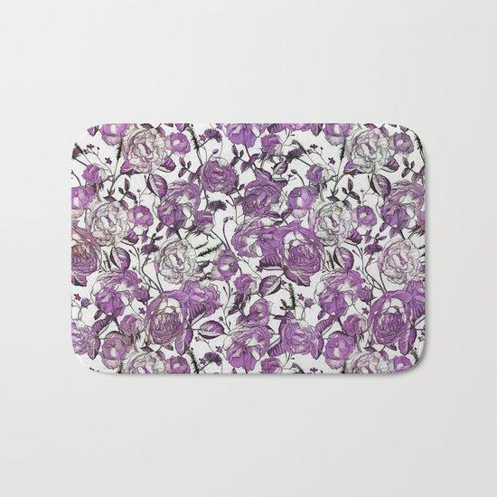 Purple Vintage Retro Flower Pattern Bath Mat