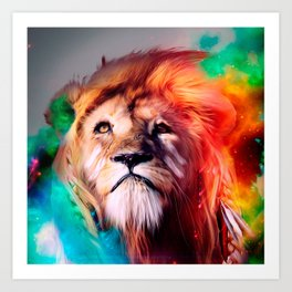 Colorful lion looking up Feathers Space Universe Art Print