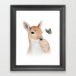 The Deer and the  Butterfly Framed Art Print