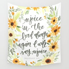 watercolor sunflowers Bible verse /// rejoice in the Lord always Wall Tapestry
