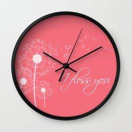 I floss you (pink) Wall Clock