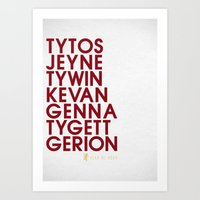 lannister Art Prints featuring House Lannister 2 Typography series II by P3RF3KT