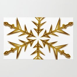Minimalistic Golden Snowflake Rug