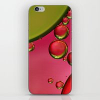 lime green iPhone & iPod Skins featuring Lime Green & Strawberry by Sharon Johnstone