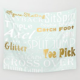 Pastel Blue with Gold Accents Figure Skating Subway Style Typographic Design Wall Tapestry