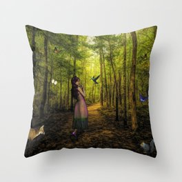 Emily and the Forest Animals Throw Pillow