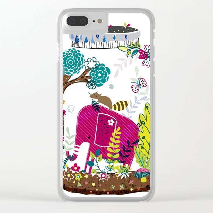 Elephant in a jar Clear iPhone Case