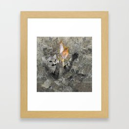 Red in tooth and claw - cat and bird Framed Art Print